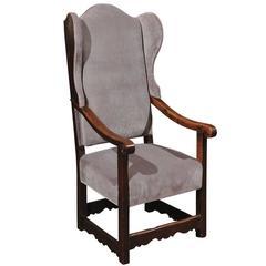 18th Century Italian Walnut Wing Chair with Grey Velvet Upholstery