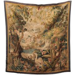 18th Century French Aubusson Tapestry of Village through the Trees