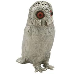 Antique Victorian Sterling Silver 'Owl' Pepperette