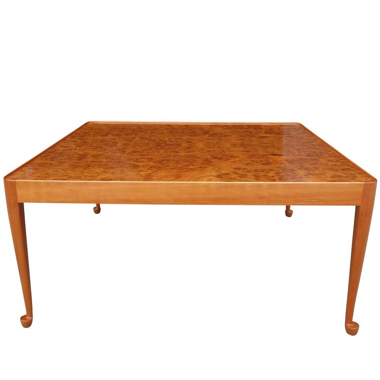 Burl Coffee Table Mid Century: Exceptional Mid-Century Burl Wood Coffee Table By Josef