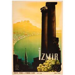 Rare Original Vintage Turkey Touring and Automobile Club Poster Promoting Izmir