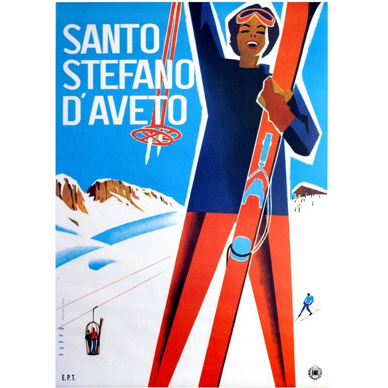 Original Vintage ENIT Skiing Poster Advertising Santo Stefano d'Aveto, Italy