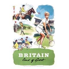 Original Vintage Poster, Britain Land of Sport, Tennis, Racing, Golf, Football