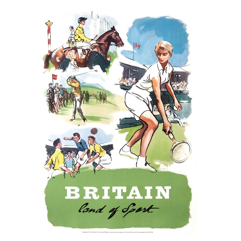 Original Vintage Poster, Britain Land of Sport, Tennis, Racing, Golf, Football For Sale