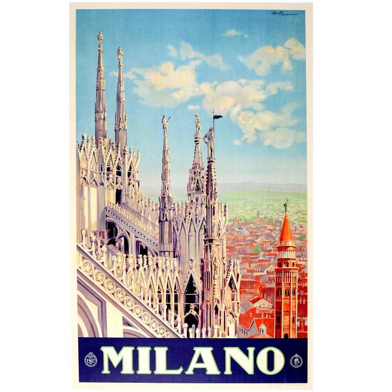 Original Vintage ENIT Travel Poster Advertising Milano, Italy 'Milan Cathedral' 1