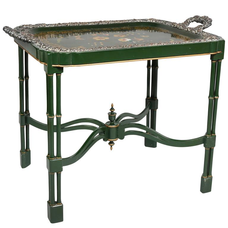 Victorian Papier Mâché and Silver Plate Tray Table