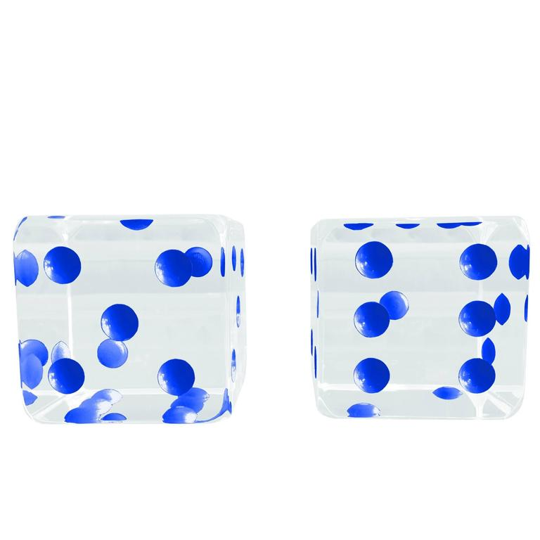 Oversized Dice Sculpture with Blue Dots by Charles Hollis Jones