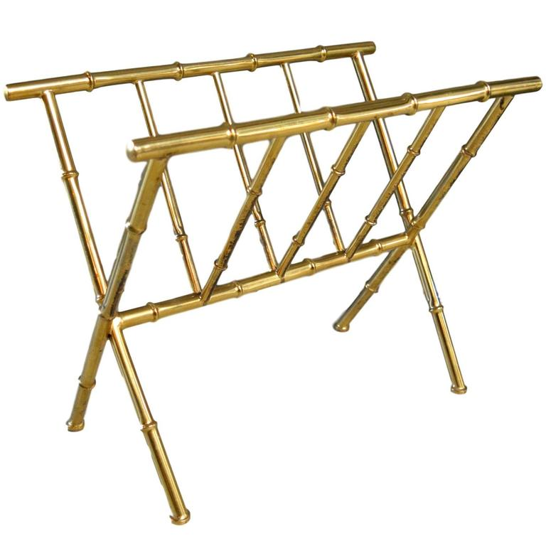 French Brass Bamboo Magazine Rack