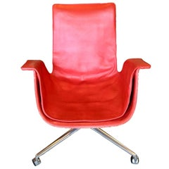 Red Fabricius 'Bird' Desk Chair with Three Legged Base