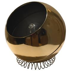 1960s Brass Globe Accent Lamp on Metal Coil Base