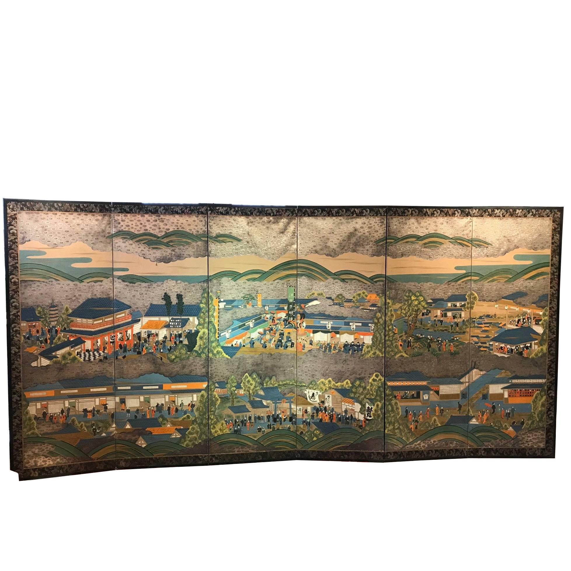 Japan Brilliant Six-Panel Screen Nara Matsuri Summer Festival Ink and Gold