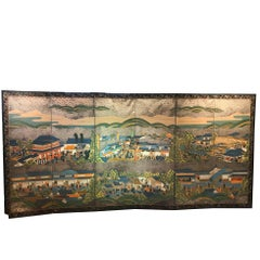 Japan Brilliant Six-Panel Screen Nara Matsuri Summer Festival Ink and Gold, 1850