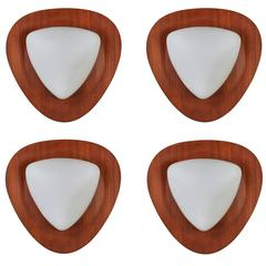 Four Glass and Teak Sconces by Goffredo Reggiani