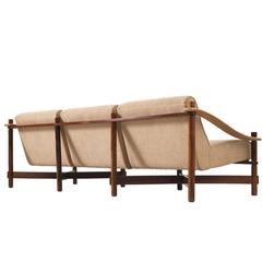 Michel Arnoult Sofa in Rosewood and Leather