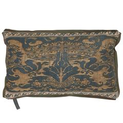 A Fortuny Fabric Lumbar Cushion in the Corone Pattern