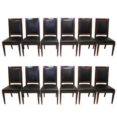 Set of 12 Mahogany Black Leather Upholstered Side Chairs