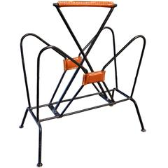 Jacques Adnet Leather and Iron Magazine Rack