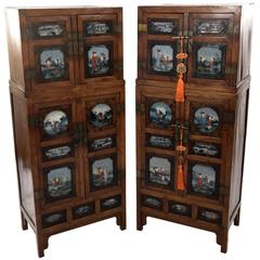 Tall Two Section Chinese Églomisé Hardwood Cabinet with Painted Panels