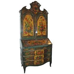 Rare 18th Century Venetian Polychrome Secretaire