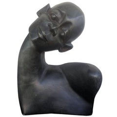 Beautiful Carved Ebony Wood Bust African