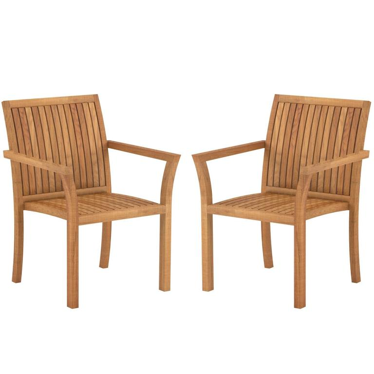 Teak Wood Puriz 55 Outdoor Dining Armchairs By Royal