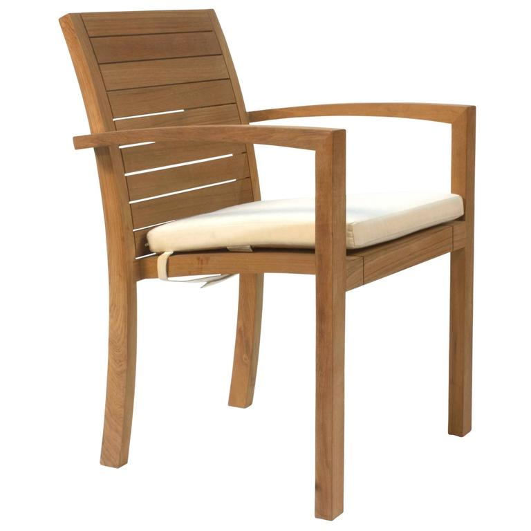 teakwood ixit outdoor dining armchair with cushion by royal botania belgium