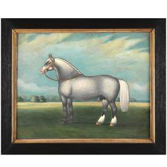 Scottish Naive School Horse Portrait of Prize Winning Stallion
