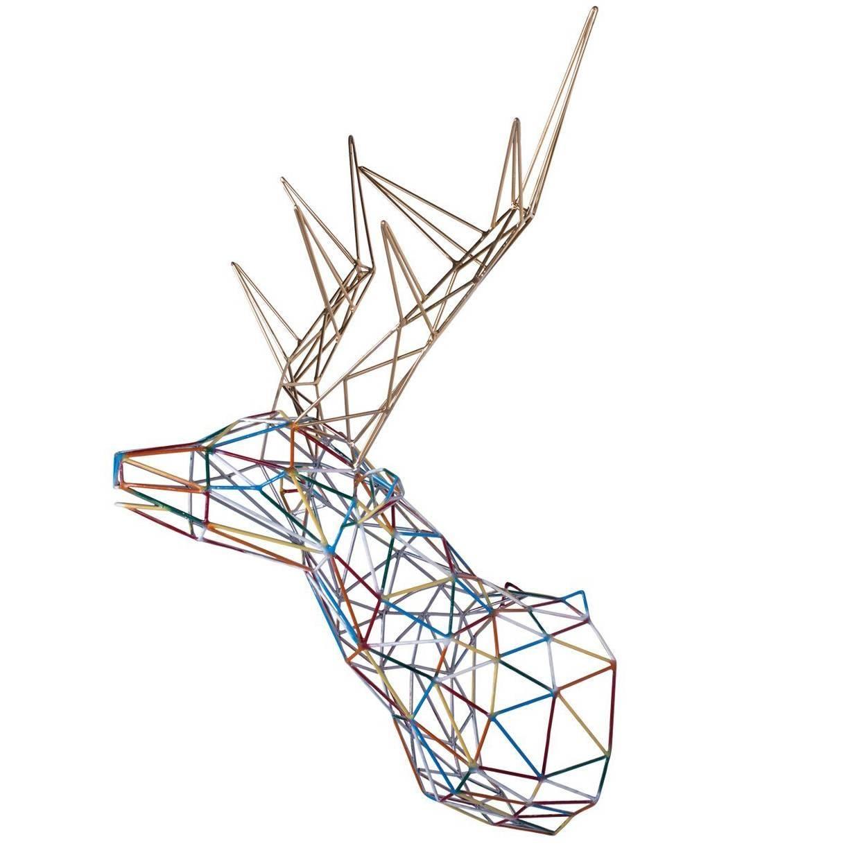 Multicolor Deer Iron Sculpture