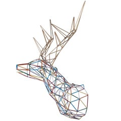Multicolor Deer Iron Sculpture