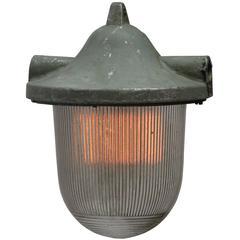 Grey Cast Aluminum Vintage Industrial Hanging Lamp Holophane Glass (20x)