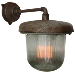 Cast Iron Industrial Wall Light Holophane Glass (16x)