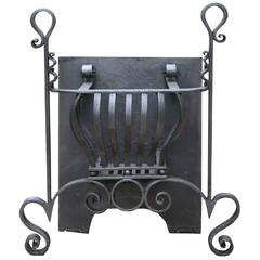 19th Century Wrought Iron Fire Grate in Arts and Craft Style