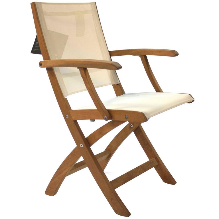 white and teak wood mixt outdoor folding armchair by royal botania