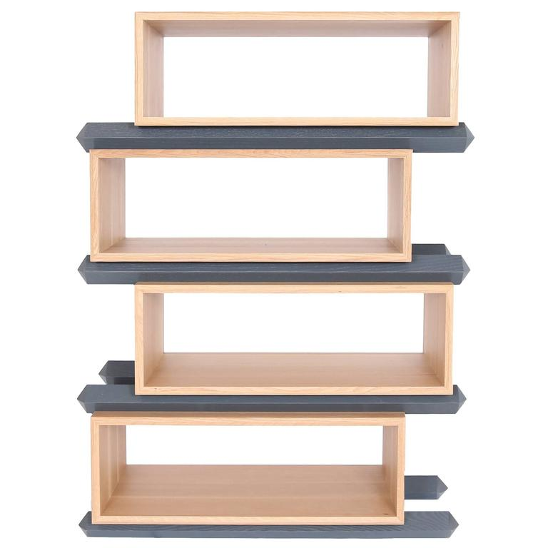 Stack Storage Four-Tier Wood Staggered Open Shelves