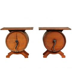Pair of Antique Butter Churner Tables