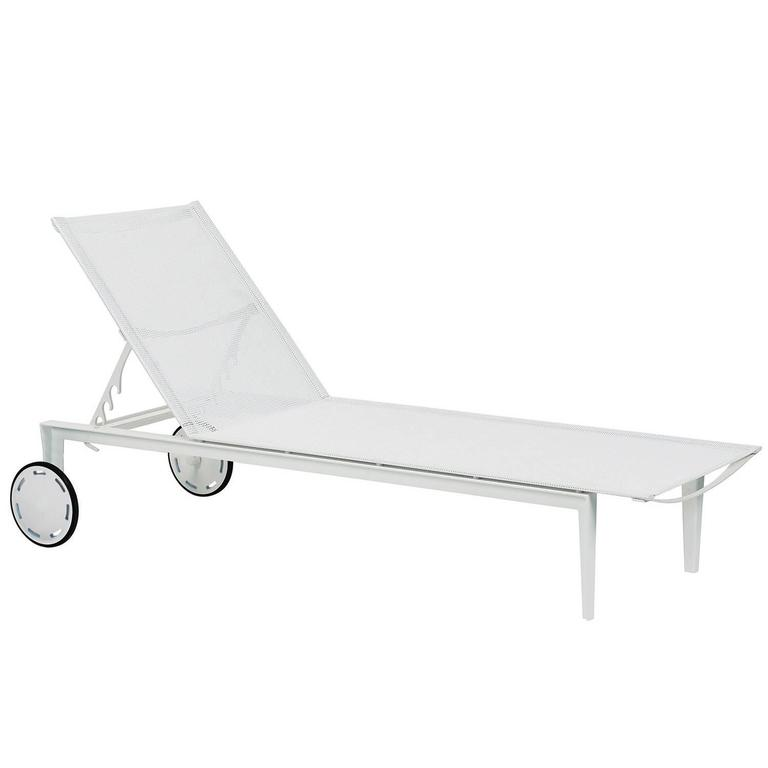 White Little L 195 Outdoor Reclining Sun Lounge Pool Chair by