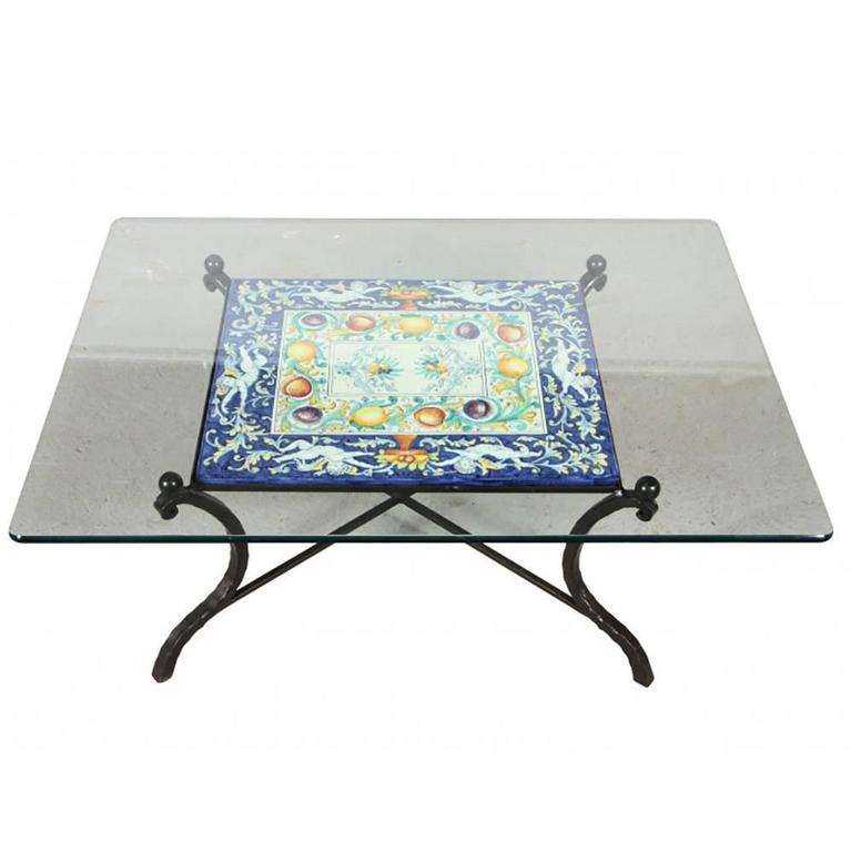 Wrought Iron And Tile Cocktail Table With Glass Top For Sale At 1stdibs