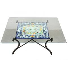 Wrought Iron and Tile Cocktail Table with Glass Top