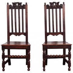 Pair of 18th Century Oak Hall Chairs, circa 1740