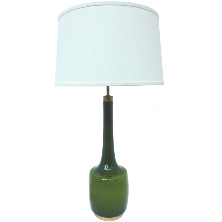 1960s Green Glass Table Lamp By Kastrup Holmegaard For Sale