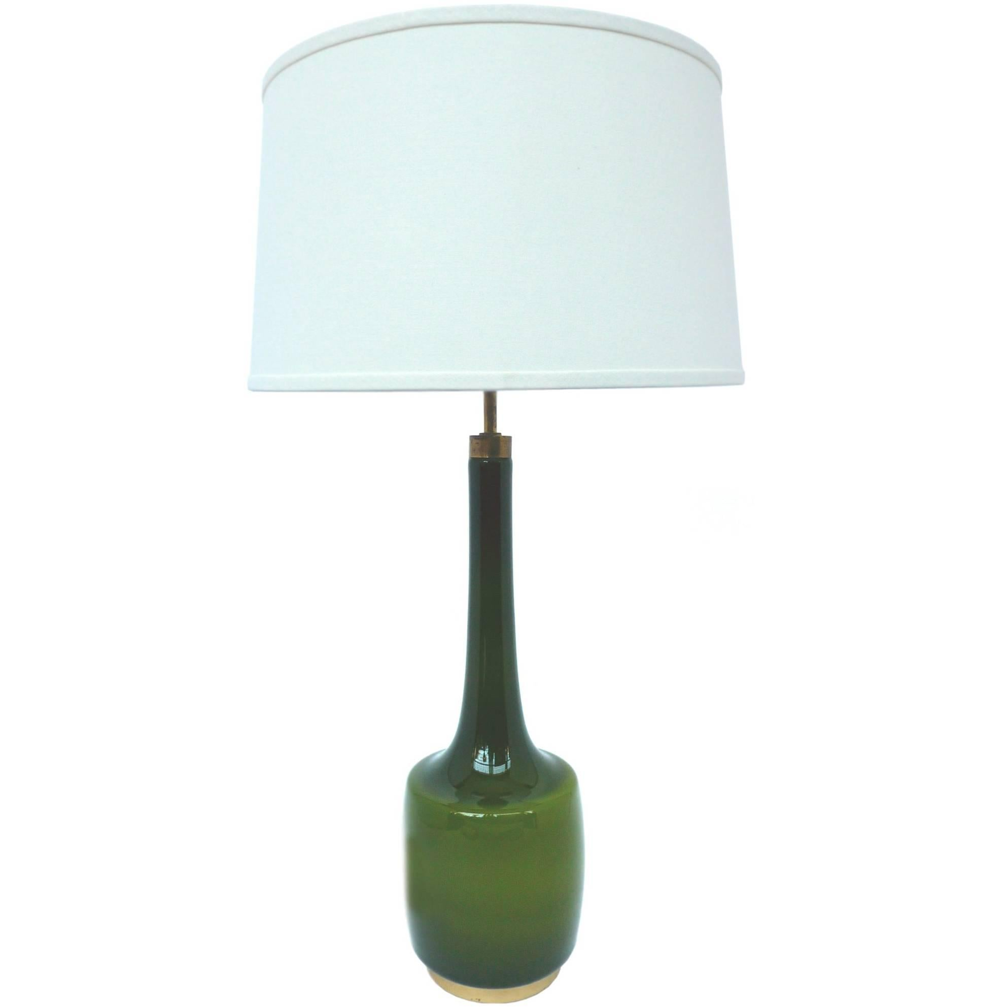 1960s Green Glass Table Lamp By Kastrup Holmegaard At 1stdibs