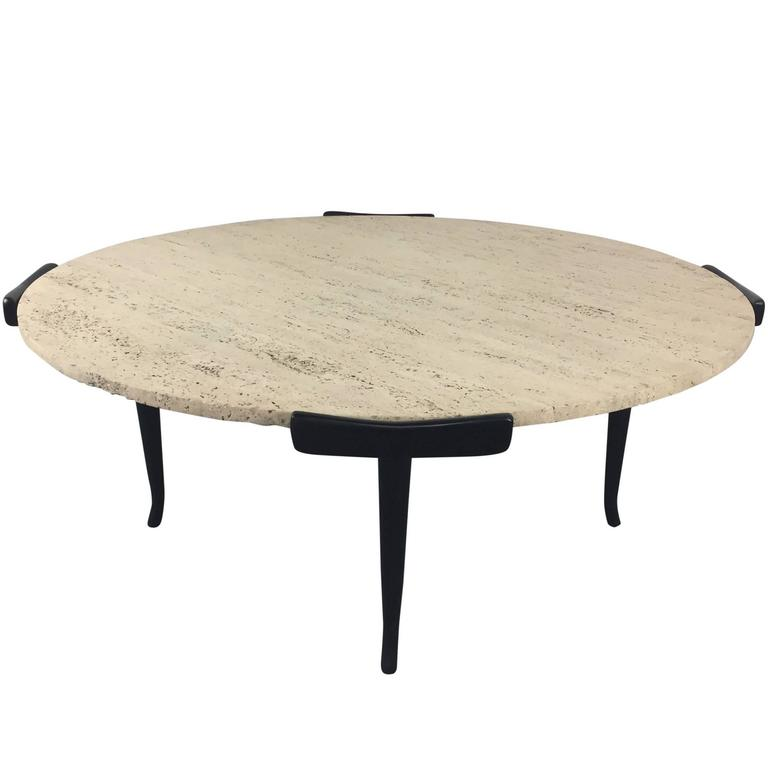 Italian Travertine and Ebonized Wood Coffee Table in the manner of Ico Parisi