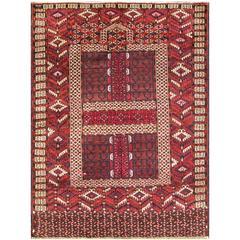 Antique Fine Tekkeh Turkoman Engsi Hatchli Four Seasons Rug
