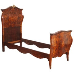 18th Century Venetian Baroque Single Bed , in walnut, burl wit polychrome Inlaid