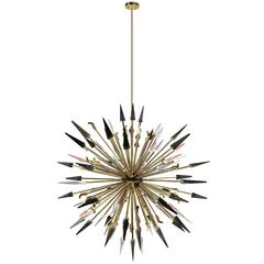 Large European Modern Round Brass, Glass Spear Outburst Chandelier by Koket