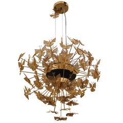 European Modern Gold Brass Nymph Butterfly Chandelier by Koket