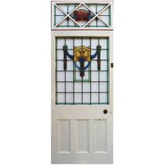Painted Pine Front Door with Fixed Stained & Leaded Glass Overlight, circa 1910