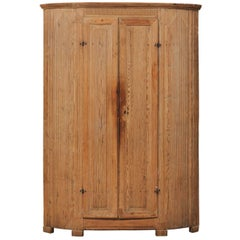 19th Century Period Gustavian Corner Cabinet, Vertical Reeds and Natural Wood
