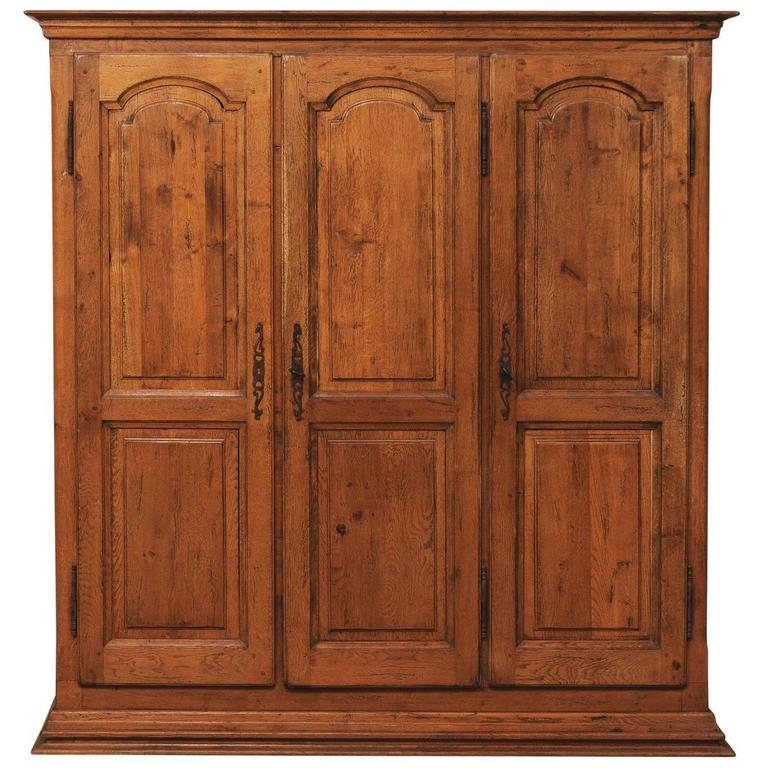 French Natural Wood Armoire Wardrobe Cabinet With Three Doors Ornate Hardware For