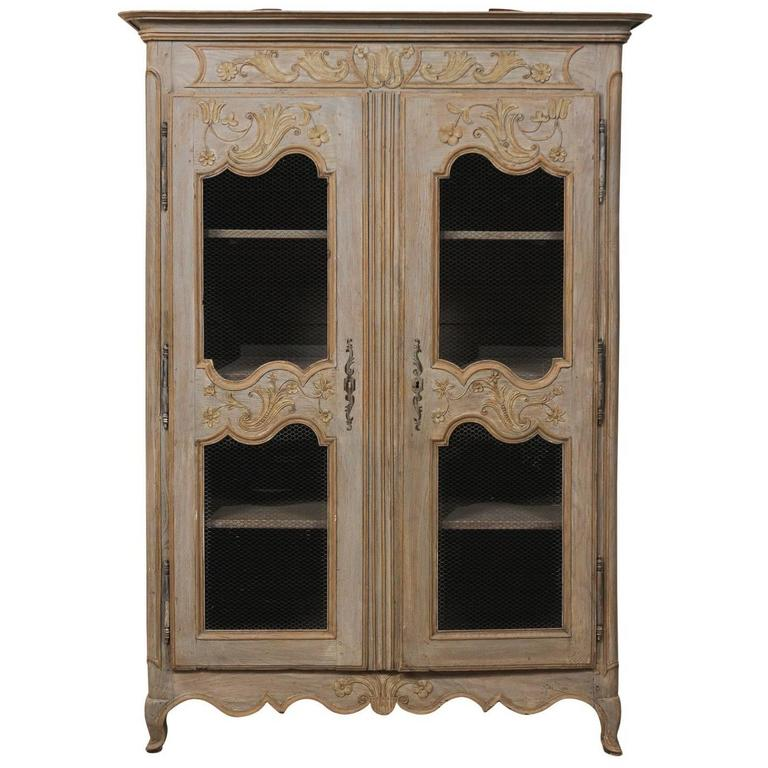 French Painted Wood Two-Door Cabinet from the Early 20th Century, Taupe & Blue